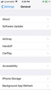 Iphones, settings,general