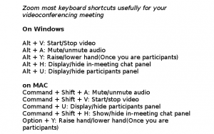 Zoom most keyboard shortcuts usefully for your videoconferencing meeting