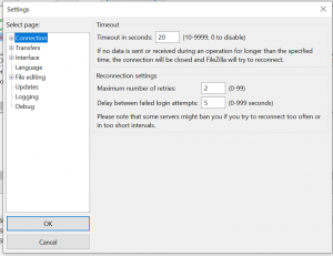 filezilla pro Connection timed out after 20 seconds of inactivity
